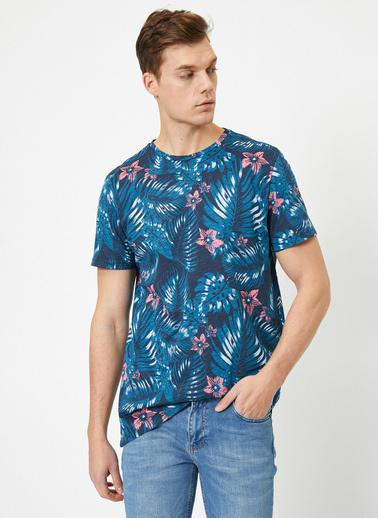 Koton Desenli T-Shirt Lacivert